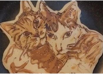 Panqueca de forma: artista hace pancakes usando la figura de los gatos
